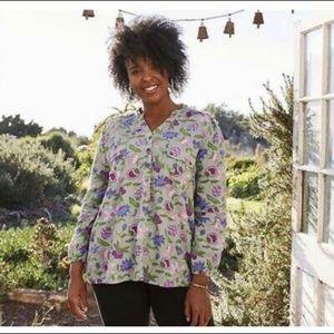 MATILDA JANE Gray Floral Ruffle Button Tunic TOP S